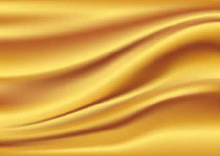 Oro de satén, seda, ondas. Ilustración de fondo amarillo Ilustración de vector
