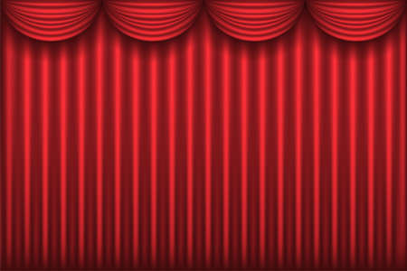losed red theater curtain, background, illustration Vector