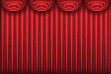 perdio rojo teatro cortina, fondo, ilustración Ilustración de vector