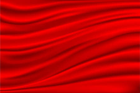 red sun: Red satin, silk, waves. Red background,  illustration