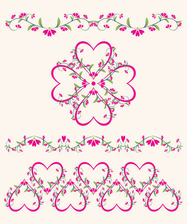 Valentines Day ornaments with heart and flowers , element for design,  illustration Stock Vector - 8668559