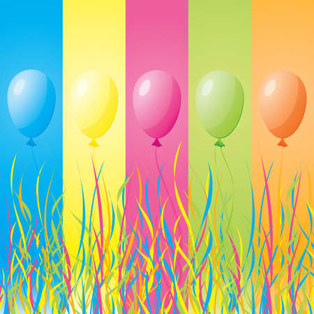 Colorful holiday balloons with ribbons on a background of colored bands Stock Vector - 8668555