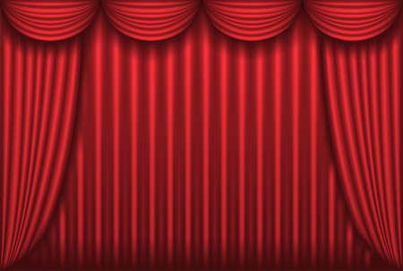 sipario chiuso: Chiuso il sipario del Teatro rosso, sfondo, illustrazione vettoriale Vettoriali