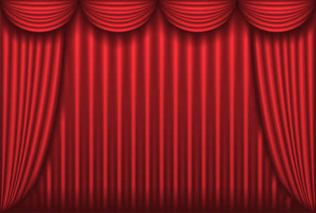 Closed red theater curtain, background, vector illustration Vector