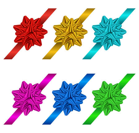 satin: Six gift bows and ribbons on a white background, vector