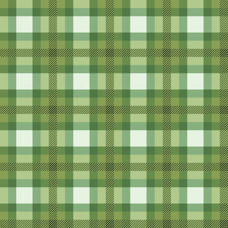 Seamless background of green plaid pattern, vector illustration