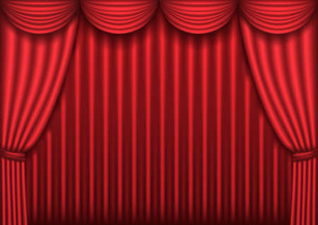 Closed red theater curtain, background, vector illustration Stock Vector - 8774052