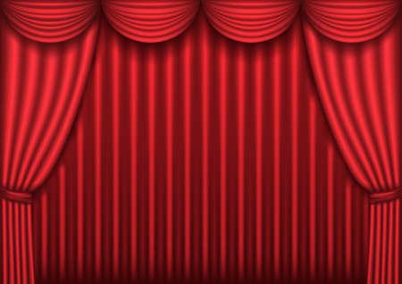 rideau de theatre: Ferm� le rideau rouge theater, arri�re-plan, illustration vectorielle