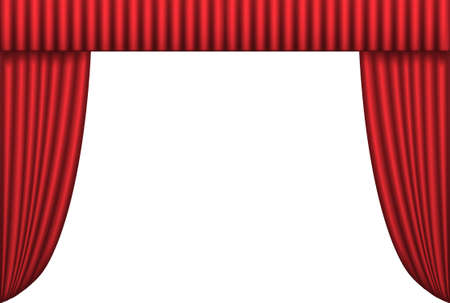 Open red theater curtain, background, vector illustration Illustration