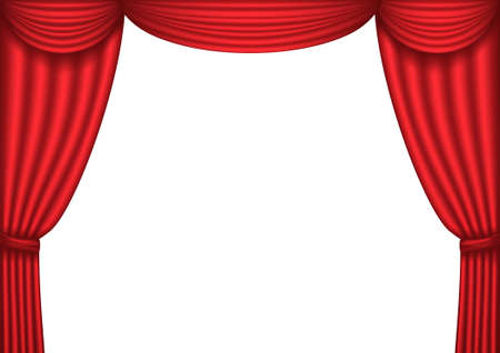 Open red theater curtain, background, Stock Vector - 8873764