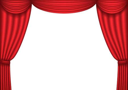 rideau de theatre: Rideau de th��tre rouge ouvert, arri�re-plan,