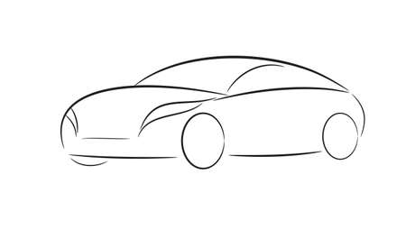 Cartoon silhouette of a black car on a white background Vector