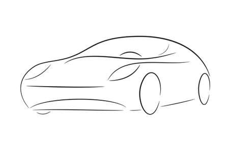 luxury travel: Silueta de dibujos animados de un coche negro sobre un fondo blanco
