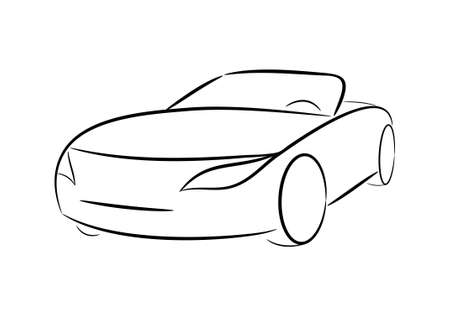 automobile industry: Cartoon silhouette of a black car on a white background
