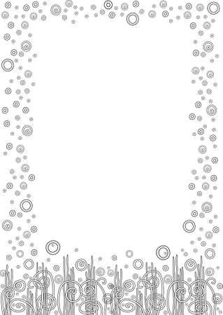 Abstract growing grass frame for diploma or certificate with circles