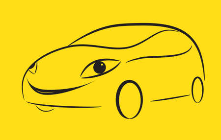 Cartoon silhouette of a black car on a yellow background, vector Vector