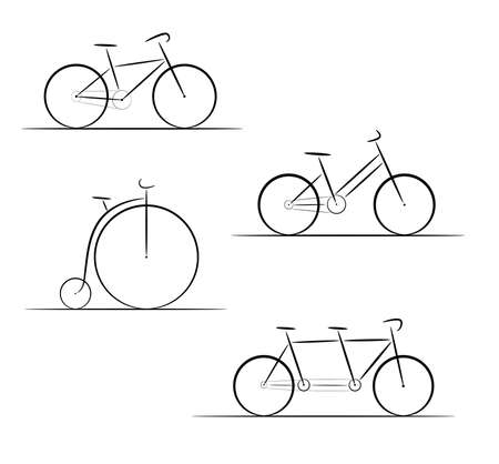 racing wheel: Vector set of bicycle silhouettes on a white background Illustration