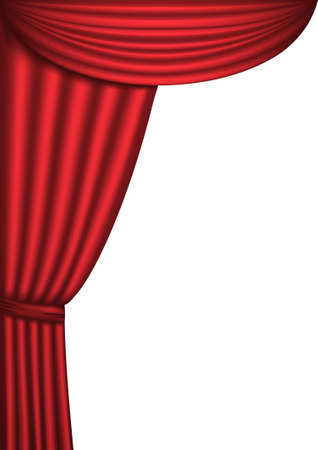 theater curtain: Open red theater curtain, background Illustration