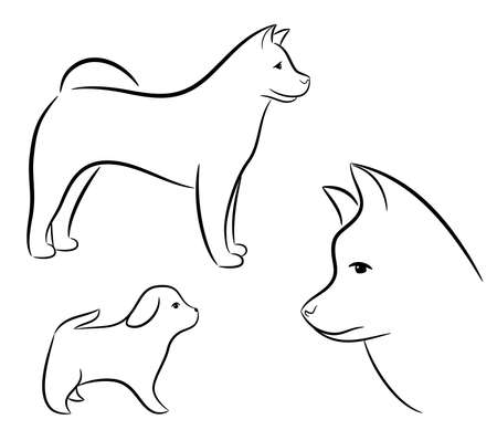 husky: A set of silhouettes of dog on a white background Illustration