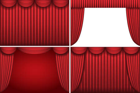 Four backgrounds with red theater curtains Vector