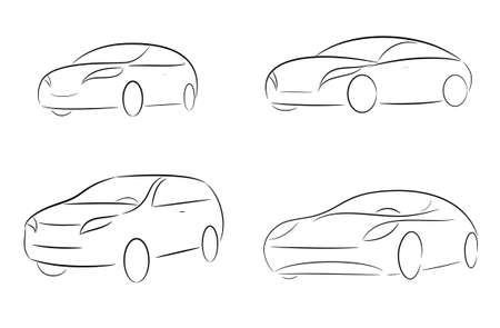 A set of cartoon silhouettes of car on a white background