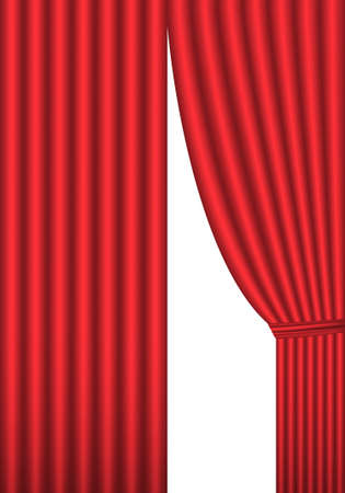 classical theater: Open red theater curtain, background, vector illustration Illustration