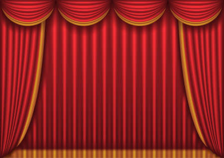 classical theater: Closed red theater curtain Illustration
