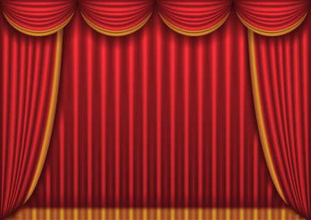 curtain theater: Cortina de teatro rojo cerrado
