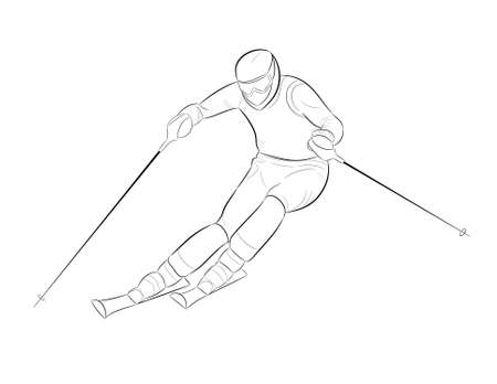 downhill skiing: silhouette of a skier rolls coming from the mountain