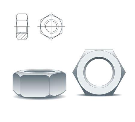 tornillos: Dos tuercas metales aisladas en un fondo blanco y dibujo t�cnico, vector Vectores