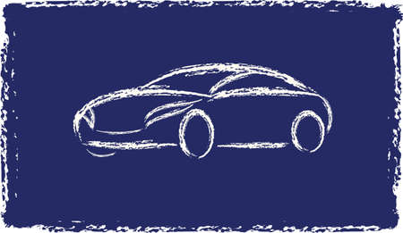 Cartoon grunge silhouette of a white car on a blue background, vector Vector