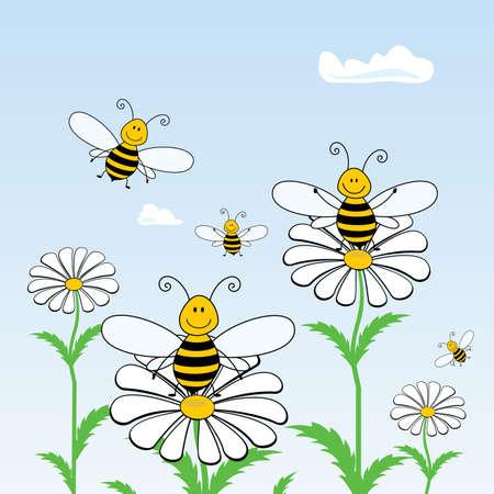 hive: Dibujo animado de abejas en las flores contra el cielo, vector
