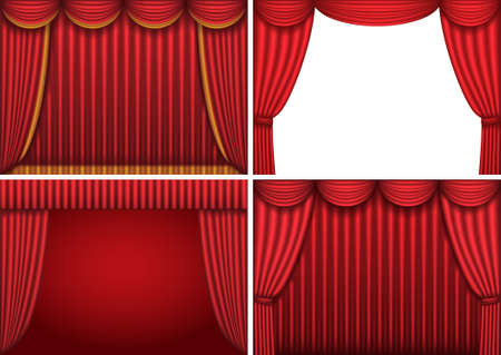 Four backgrounds with red theater curtains. Vector illustration. Vector