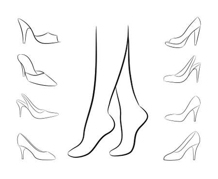woman legs: Silhouette of women feet, surrounded by womens shoe on white background, vector Illustration