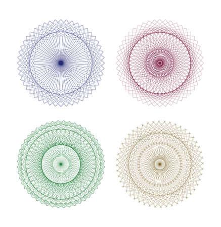 rosettes: Set of vector guilloche rosettes certificate or diplomas, decorative elements