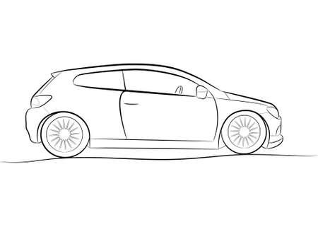 autom�vil caricatura: Caricatura de la silueta de un auto negro sobre un fondo blanco, vector Vectores