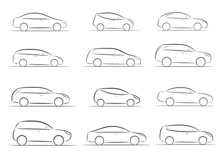 car silhouette: A set of silhouettes of car on a white background