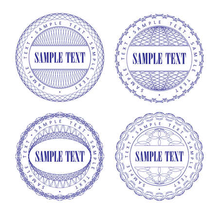 label circular: A set of vector guilloche blue seal, pattern for currency, certificate or diplomas, vector illustration