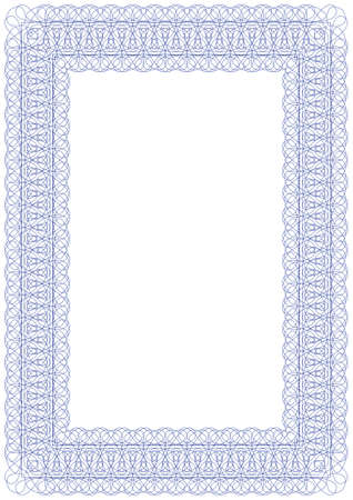 blue frame: Guilloche vector frame for diploma or certificate Illustration