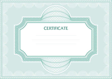 Horizontal guilloche vector frame for diploma or certificate Vector