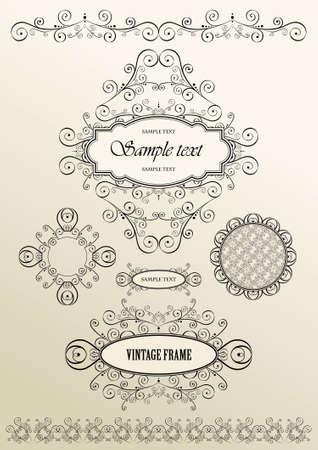 Set of ornate vector frames and ornaments with sample text, elegant vintage label, vector illustration Vector