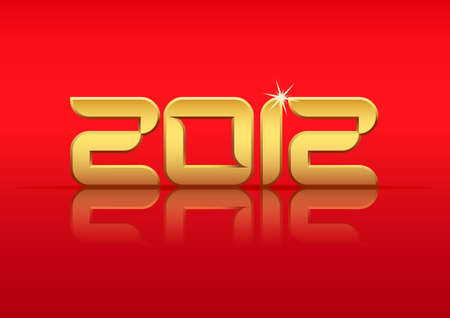 Gold 2012 year with reflection on red background, vector illustration Vector