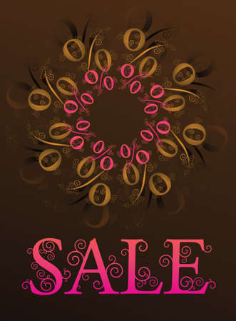 percentage sign: sale banner with a percentage sign in a flower