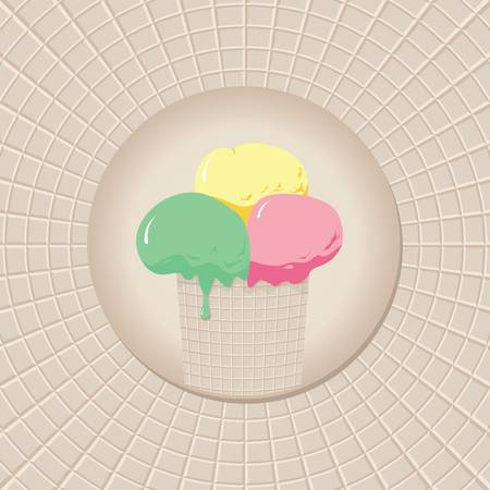 cup of ice cream for waffle background Vector