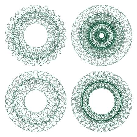 guilloche pattern: Set of guilloche rosettes certificate or diplomas, decorative elements Illustration