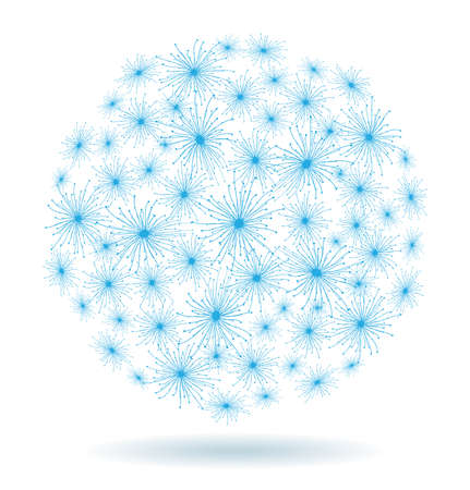 Abstract Christmas winter background of the blue stars in the form of a ball Vector