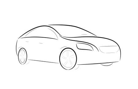 luxury travel: Silueta de la historieta de un coche negro sobre un fondo blanco
