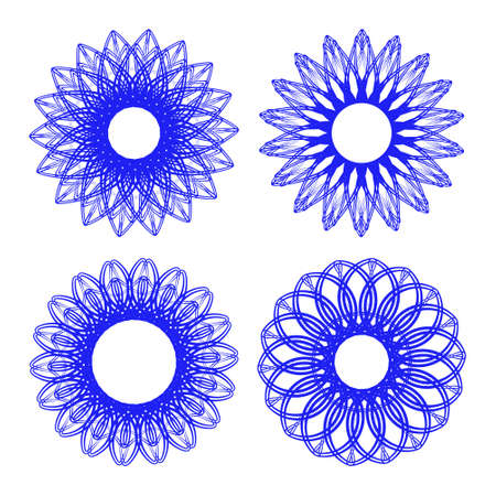 inimitable: Set of guilloche rosettes certificate or diplomas, decorative elements Illustration
