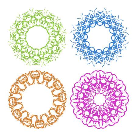 inimitable: Set of colorful border, decorative elements