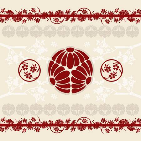 Asian floral designs with traditional elements on a beige background. Vector
